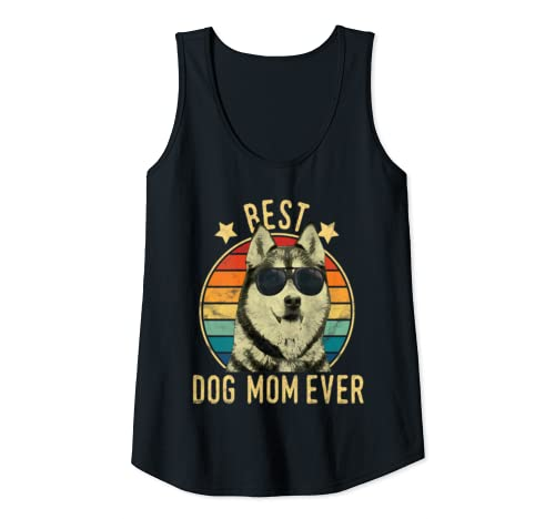Womens Best Dog Mom Ever Siberian Husky Mother's Day Gift Tank Top