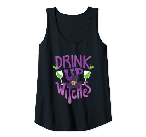 Womens Funny Halloween Party Drink Up Witches Tank Top
