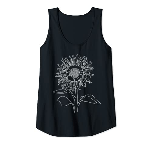 Womens Drawing Of Flower, Artist Tee, Womans Top, Nature, Gift Tank Top