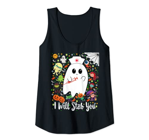 Womens I Will Stab You Funny Halloween Ghost Gift For Nurse Tank Top
