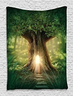 Ambesonne Tree Tapestry, Tree of Life Themed Arrangement with Thirving Jungle Spring Season, Wall Hanging for Bedroom Living Room Dorm Decor, 40