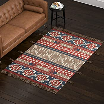 Amazon Brand – Stone & Beam Modern Global Bohemian Kilim Rug, 5 x 8 Foot, Multicolor