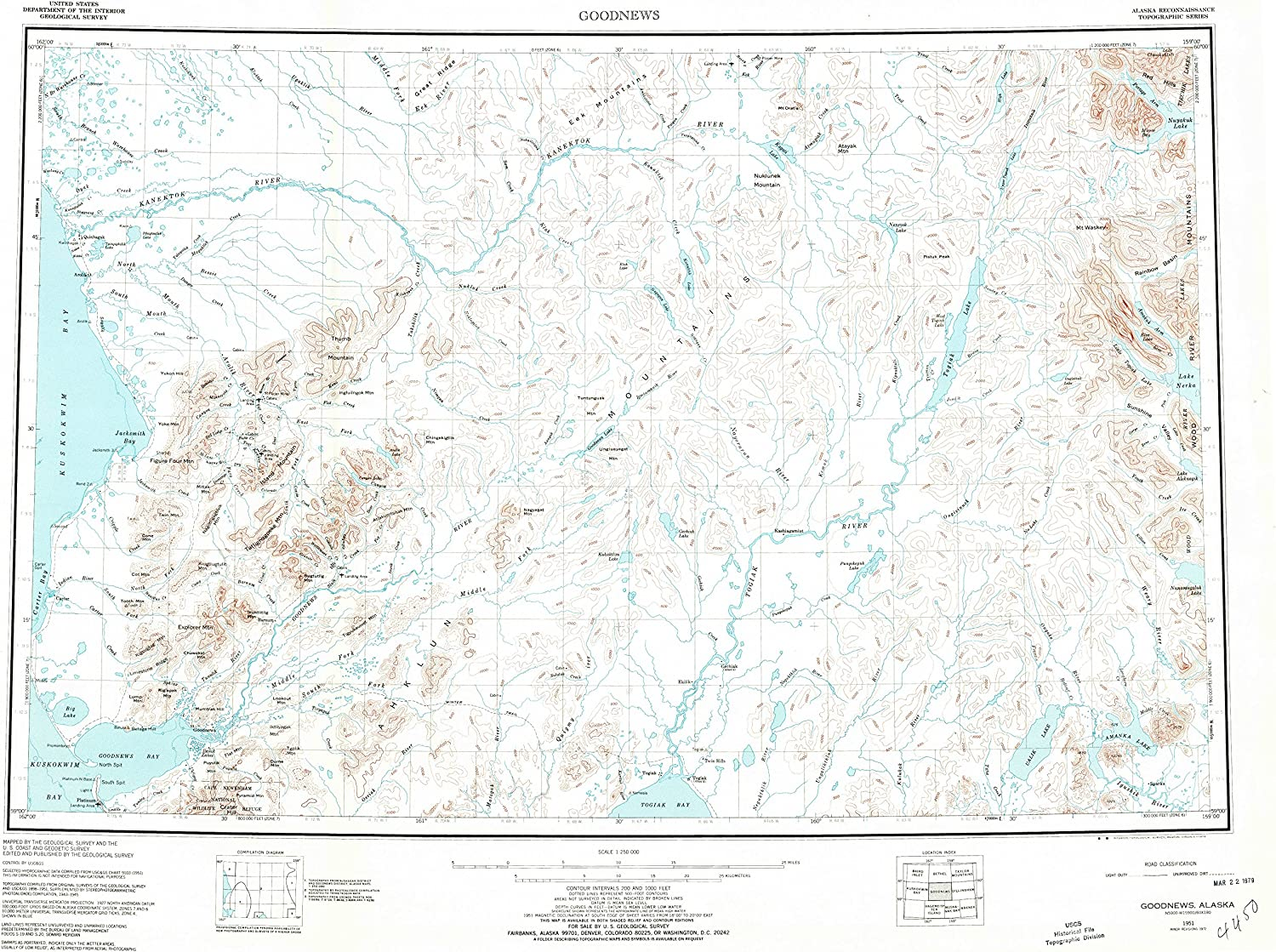 Goodnews AK topo map, 1 250000 Scale, 1 X 3 Degree, Historical, 1951, Updated 1974, 22.7 x 30.3 in