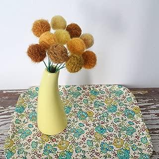 Mustard Yellow Felt flowers. Wool pom pom ball flower. Craspedia, billy balls, billy buttons. Faux flower bouquet. Small yellow flowers.