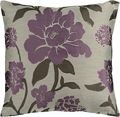 """Artistic Weavers HH-048 Hand Crafted 88% Polyester / 12% Polyamide Plum 18"""" x 18"""" Floral Decorative Pillow"""