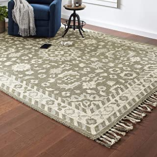 Stone & Beam Barnstead Floral Wool Area Rug, 8 x 10 Foot, Charcoal and Beige