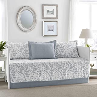 Laura Ashley Amberley Blue 5-Piece Daybed Cover Set, Twin, Soft