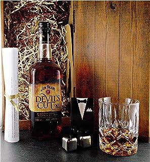 Geschenk Jim Beam Devil`s Cut Bourbon Whiskey  Glas  2 Whisky Kühlsteine