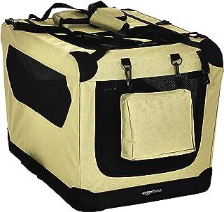 AmazonBasics – Transportín para mascotas abatible, transportable y suave de gran calidad, 66 cm, Caqui
