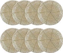 COTTON CRAFT Glitz Set of 8 Handmade Beaded Coasters, 4 inch Round, Champagne