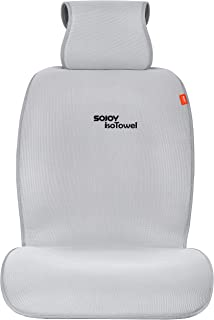 Sojoy Car Seat Cover Breathable Wear Resistant Fabric Seat Protector, with Quick-Dry, No-Slip Technology. Car Seat Protection for All Workouts, All-Weather (Gray)