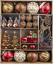 Valery Madelyn 60ct Woodland Red Brown Christmas Ball Ornaments Decor, Shatterproof Christmas Tree Ornaments for Xmas Deco...