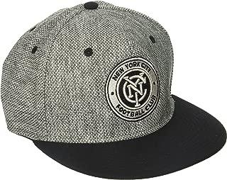 adidas MLS New York City FC Men's Heathered Gray Fabric Flat Visor Flex Hat, Large/X-Large, Gray