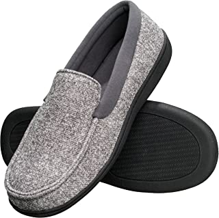 Men's Slippers House Shoes Moccasin Comfort Memory Foam Indoor Outdoor Fresh IQ (XX Large (12.5-13.5),Grey)
