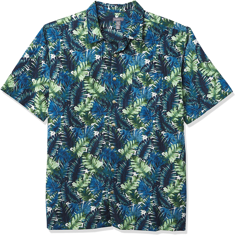 Van Heusen Men's Big & Tall Big and Tall Air Tropical Short Sleeve Button Down Poly Rayon Shirt