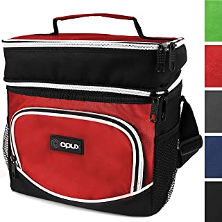 OPUX Insulated Dual Compartment Lunch Bag, Double Deck Lunch Box for Men, Women Kids | Soft Leakproof Lunch Tote Cooler for Work, Office, School | Medium Reusable Lunch Pail, Fits 8 Cans (Red)