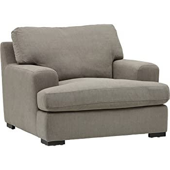 """Amazon Brand – Stone & Beam Lauren Down-Filled Oversized Living Room Accent Armchair with Hardwood Frame, 46""""W, Slate"""