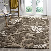 "Safavieh Florida Shag Collection SG464-7913 Floral Textured 1.18-inch Thick Area Rug, 3' 3"" x 5' 3"", Smoke/Beige"