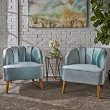 Christopher Knight Home Scarlett Modern Velvet Club Chairs (Set of 2), Seafoam Blue, Walnut