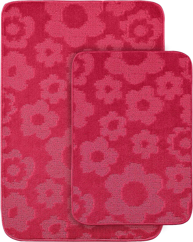 Garland Rug Flower 2-Piece Bath Rug Set, Pink