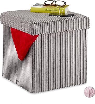 Relaxdays Cube, Pliable, Tabouret Velours avec Espace de Rangement, carré, avec Couvercle, 38x38x38 cm, Gris, MDF, Mousse, 1 élément
