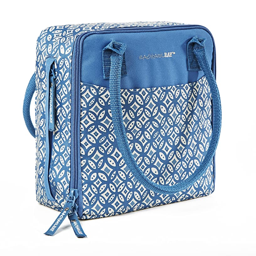 Rachael Ray Newton Insulated Lunch Bag, Woodblock Geo Blue