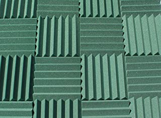 "Soundproofing Acoustic Studio Foam - Forest Green Color - Wedge Style Panels 12""x12""x2"" Tiles - 4 Pack"