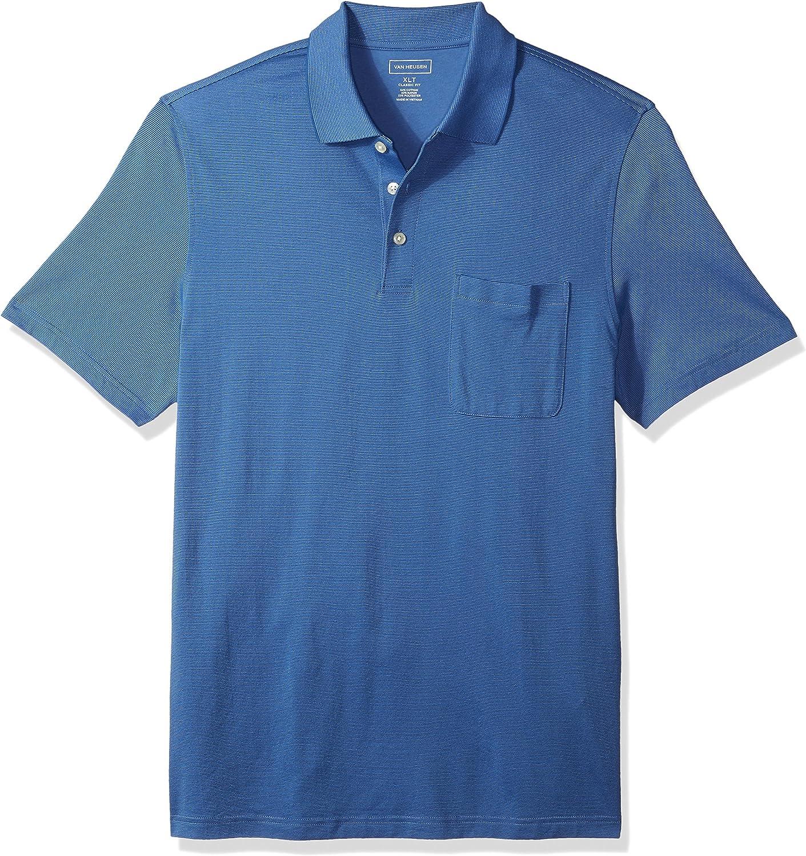 Van Heusen Men's Big and Tall Short Sleeve Jacquard Stripe Polo Shirt