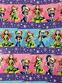 DC Super Hero Girls Christmas Gift Wrapping Paper -40 Square Feet 1 Roll