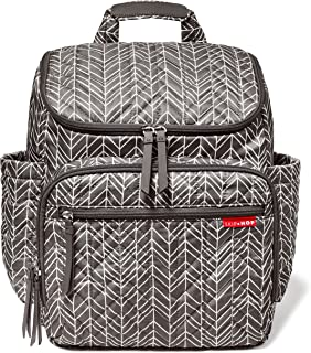 Skip Hop Forma Diaper Bag Backpack, Soft Multi-Function Baby Travel Bag with Changing Pad & Packing Cubes, Grey Feather