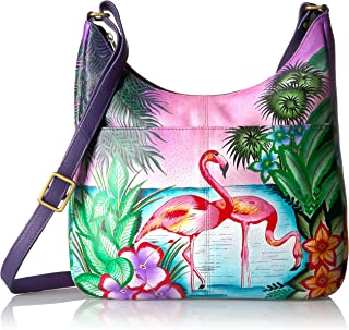 Women's Genuine Leather Large Hobo Handbag | Hand Painted Original Artwork | Zip-Top Organizer