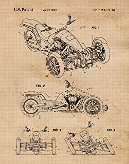Original Harley Davidson Patent Poster Prints, Set of 1 (11x14) Unframed Photo, Wall Art Decor Gifts Under 15 for Home, Office, Man Cave, College Student, Teacher, Coach, American Motorcycles Fan