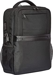 Amazon Basics - Mochila negra antirrobo premium con cierre enrollable