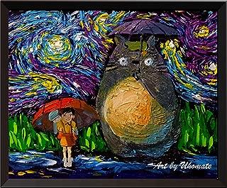 Uhomate My Neighbor Totoro in Rain Hayao Miyazaki Wall Decor Vincent Van Gogh Starry Night Posters Home Canvas Wall Art Anniversary Gifts Baby Gift Nursery Decor Living Room Wall Decor A045 (8X10)