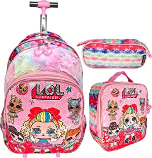 REVERSIBLE SEQUINS AND FUR SINGLE HAND TROLLEY WITH BACKPACK BAG FOR KIDS GIRL INCLUDE LUNCH BAG AND PENCIL POUCH | 17 INC...