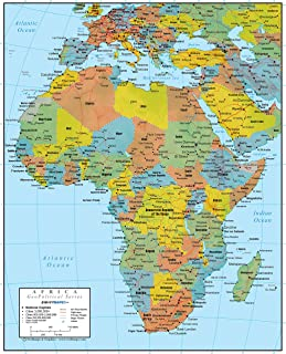 Africa Wall Map GeoPolitical Edition by Swiftmaps (24x30 Laminated)