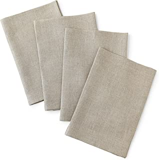 Solino Home Linen Dinner Napkins - 20 x 20 Inch Natural, 4 Pack Linen Napkins, Bella - 100% European Flax - Soft & Handcrafted with Mitered Corners