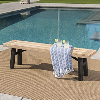 Betteravia Outdoor Brushed Grey Acacia Wood Dining Bench with Brushed Mahogany Legs