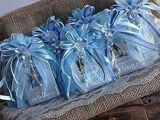 Baptism Favors Baby Blue 12pc / Prayer Books Covered in Repujado/recuerditos De Bautizo En Repujado Libritos De Oracion