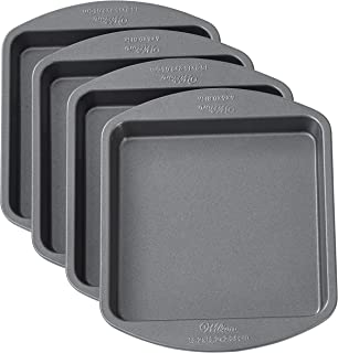 Wilton 2105-5748 Easy Layers 4 Pieces Cake Pan Set, Grey, Square, Stainless Steel