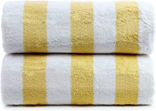 Premium Quality 100% Turkish Cotton Cabana Thick Stripe 2-Pack Pool Beach Towels, Eco-Friendly (Yellow, 30x60 Inch)
