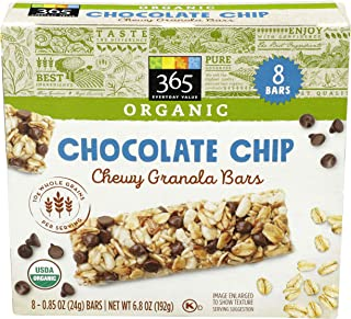 365 Everyday Value, Bar Granola Chocolate Chip Organic 8 Count, 6.8 Ounce