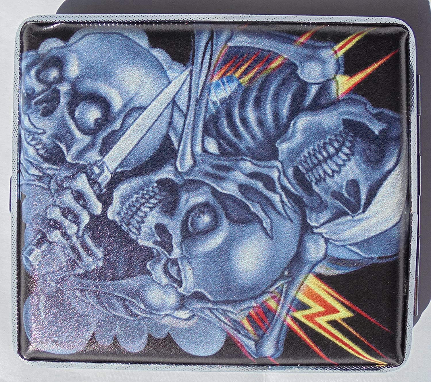 Metal Cigarette Case Challenge the lowest price Couple Skull Design Ranking TOP6 Book - 100 Open Style