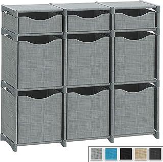 9 Cube Organizer | Set of Storage Cubes Included | DIY Closet Organizer Bins | Cube Organizers and Storage Shelves Unit | Closet Organizer for Bedroom, Playroom, Livingroom, Office, Dorm (Grey)