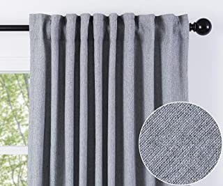 Chanasya Two Color Tone Textured Curtain Panels for Living Room Bedroom Windows Patio Office - Partial Room Darkening Window Treatment Drapes for home Decor (Set of-2) 52x63 Inches Panels - Light Blue