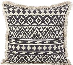 SARO LifESTYLE 2152. GY20S Aztec Tribal Design Trim Cotton Down Filled Throw Pillow، 20 بوصة x 20 بوصة، رمادي