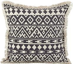 SARO LIFESTYLE Aztec Tribal Design Fringe Trim Cotton Down Filled Throw Pillow, 20 x 20, Grey