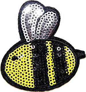 Bee Honey Wild Animal Sparkly Sequin Shine Shiny Patch Sew Iron on Embroidered Applique Craft Handmade Baby Kid Girl Women Sexy Lady Hip Hop Cloths DIY Costume