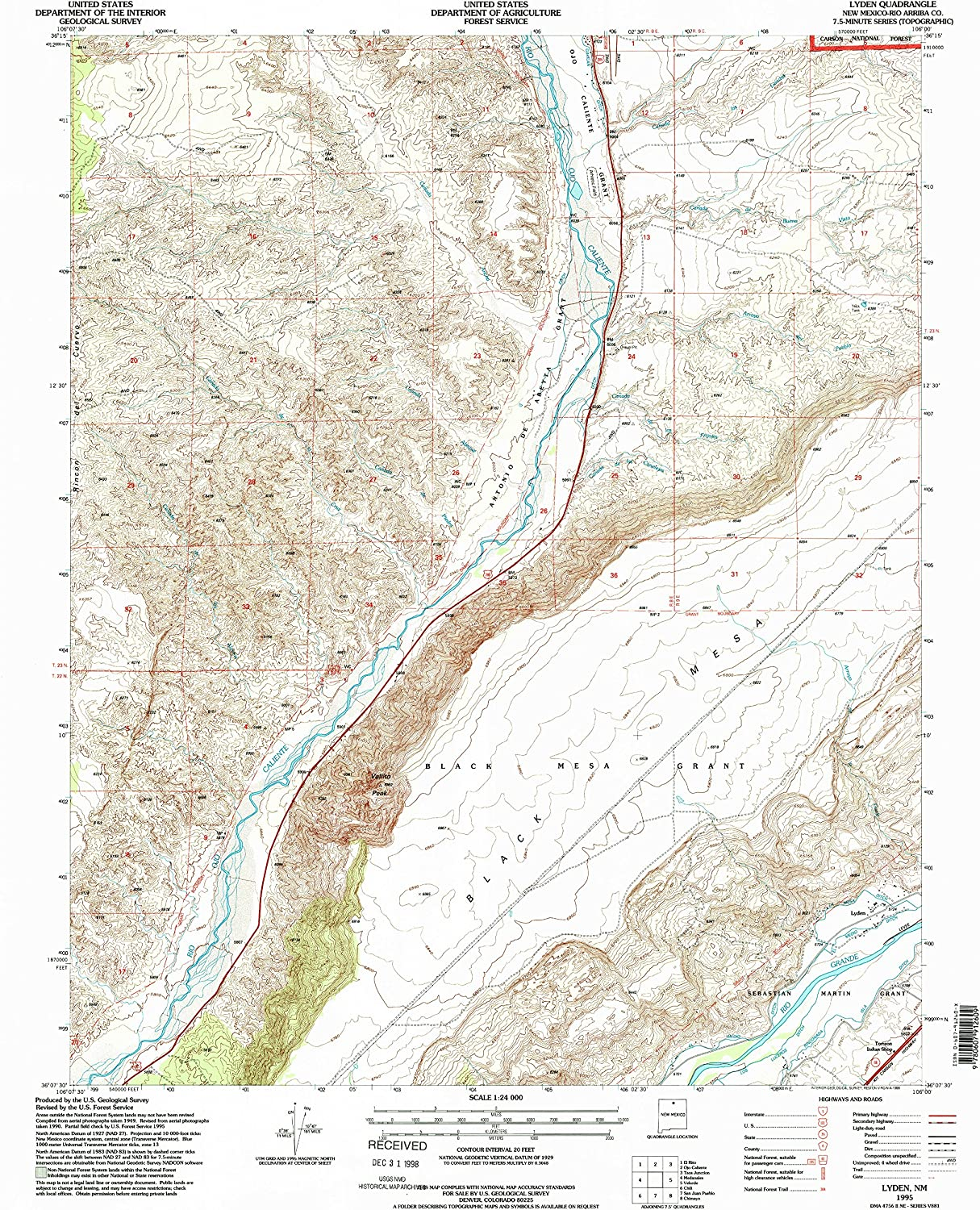Lyden NM topo map, 1 24000 Scale, 7.5 X 7.5 Minute, Historical, 1995, Updated 1998, 26.9 x 22.1 in