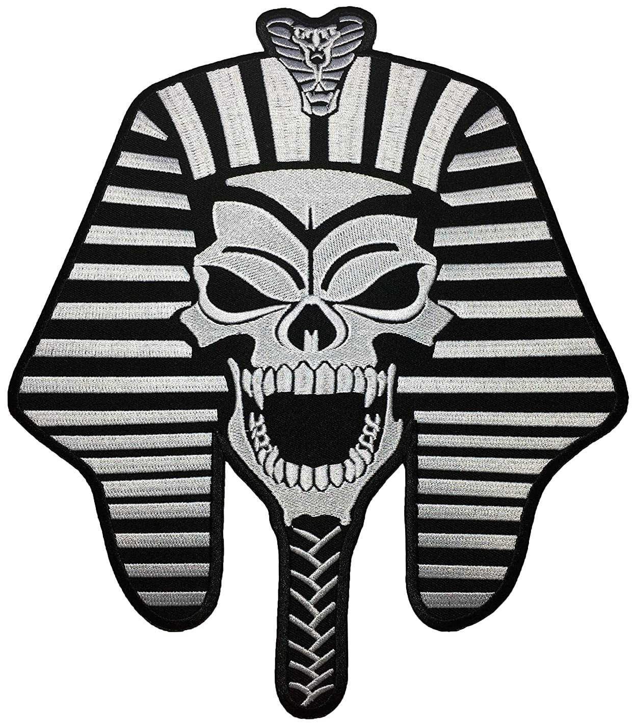 [Large Size] Papapatch Pharaoh Skull Skeleton Ghost Mummy Egypt God King Biker Punk Ride Motorcycle Costume Jacket DIY Embroidered Sew Iron on Patch (IRON-PHARAOH-SKULL-LARGE)